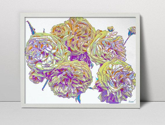 English roses serigraph  roses print  English roses flowers
