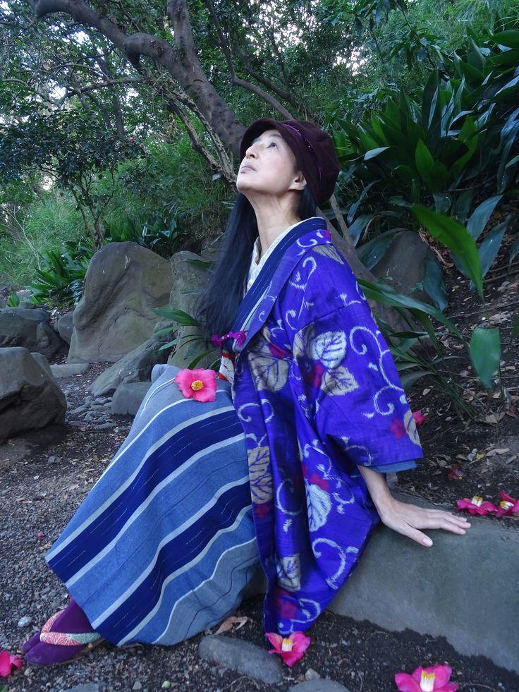 冬 ウール縞着物紫に花と唐草の羽織+垂髪帽子