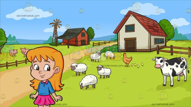 A Pretty Female Preschooler With Long Wavy Hair At A Farm:  A lovely girl with long red orange hair brown eyes fair skin wearing a blue shirt with pink collar pink skirt white socks and a pair of violet shoes with white shoelaces and black sole smirks cutely while glancing to her left. Set in a farm with green grass a windmill wooden fences trees different farm animals like sheep chickens cows and pigs a nice pathway leads to the farmhouses.  #kid #child #children #clipart #cartoon…