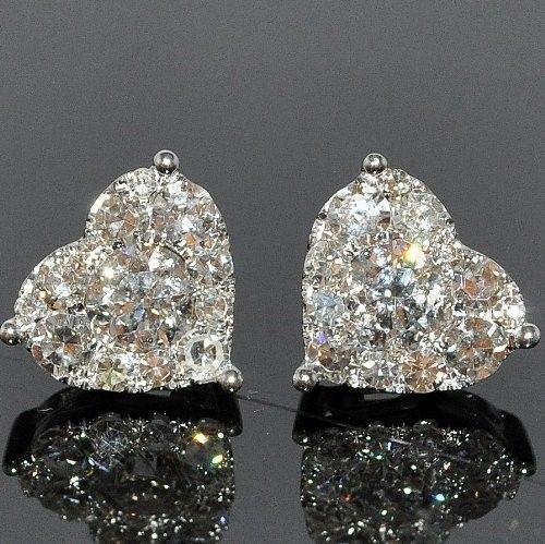 Diamond Heart Earring Solitaire 1.75ctw 14K White Gold