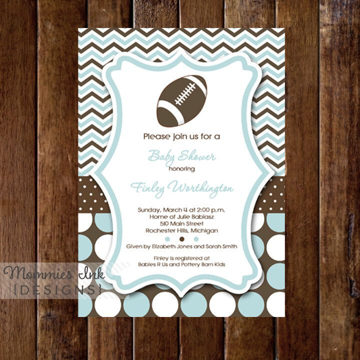 Mod Chevron Dotty Football Baby Shower Invitation   PRINTABLE INVITATION  DESIGN By MommiesInk On Etsy Https