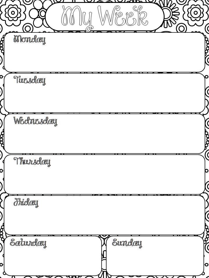 One week planner template resumecharacterworldco – One Week Planner Template