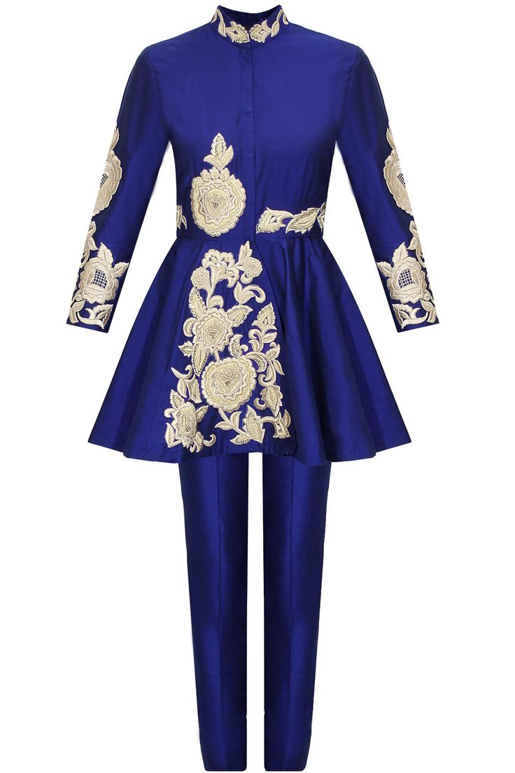 Blue dabka embroidered jacket with pants available only at Pernia's Pop-Up Shop.