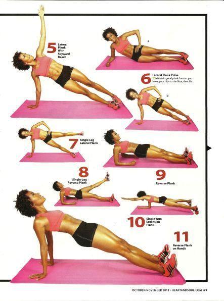Tabla de #ejercicios para #entrenar el #core