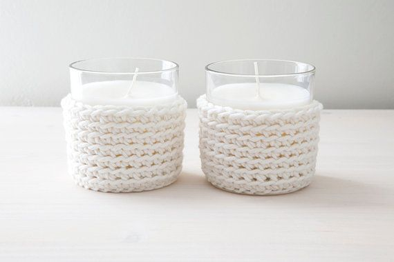 Set of two candles with crocheted cover - made by Home sweet home design (etsy shop)