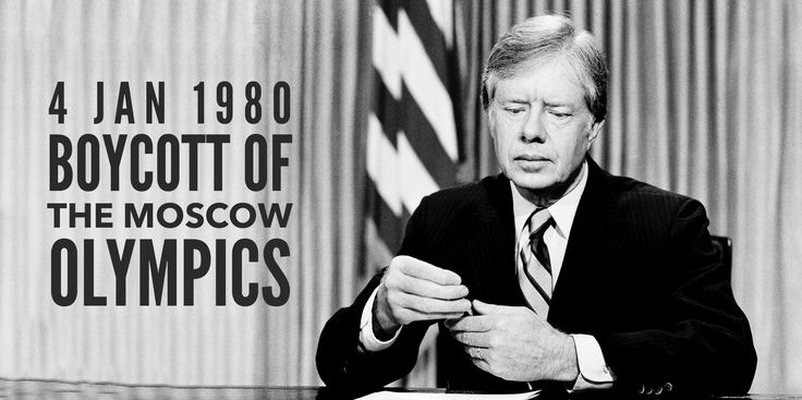4 January 1980. Boycott of the Moscow Olympics is announced by Jimmy Carter and followed by 60 other states