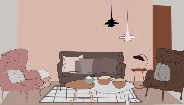 Vepsäläinen living room - Illustration by Anni Leppänen