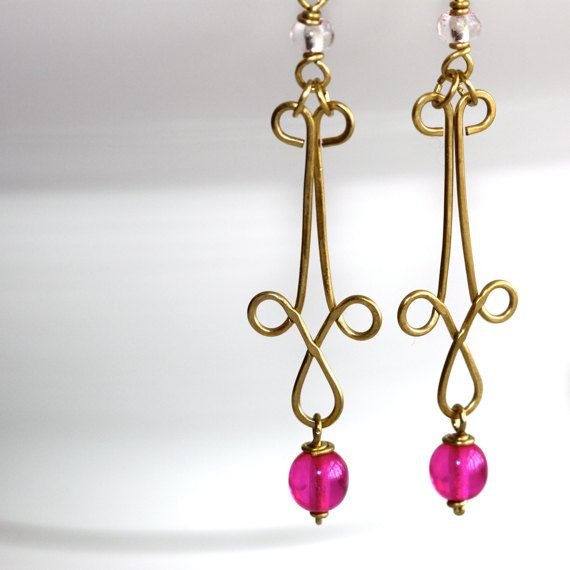 Fuchsia Earrings  'Kiddie Pool High Dive' by Simplish on Etsy, $30.50