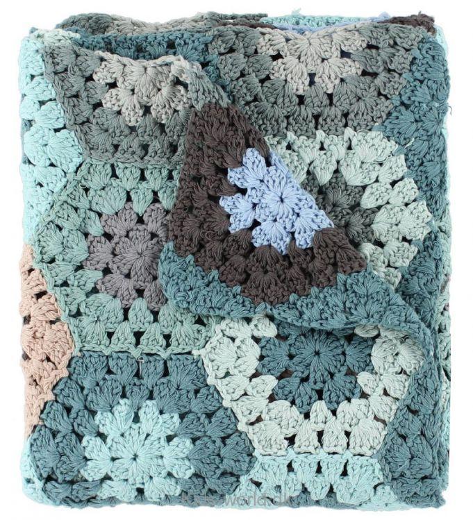 Sebra Hæklet Babytæppe - 85x85 - Pastel Blå