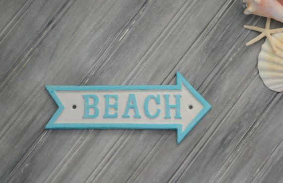 White Beach Arrow Wall Sign. Arrow Points by SandCastlesAndSpurs