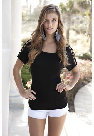 Cutout shoulder tee. Top has shoulder cutouts detailing the length of the sleeves and ruching at the sides.
