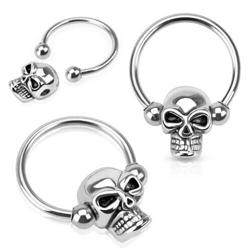 Skull Bead 316L Surgical Steel Captive Bead Ring - Pierce of Mind