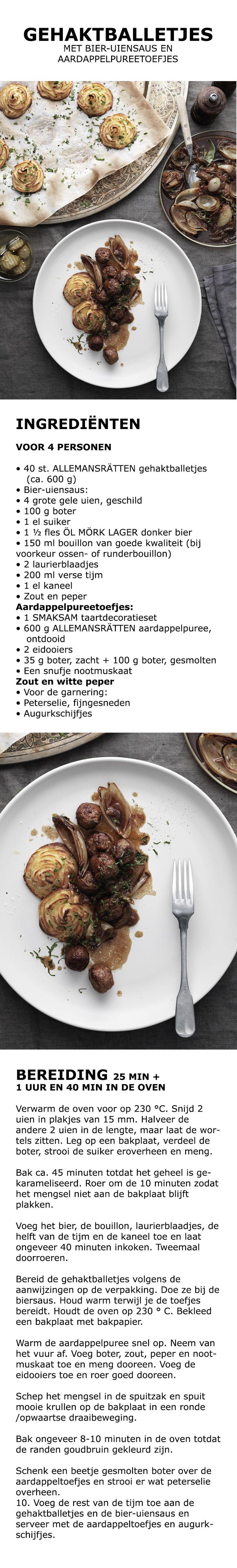 Inspiratie voor de feestdagen - Gehaktballetjes met bier-uiensaus en aardappelpureetoefjes | IKEA IKEAnederland koken keuken recept herfst winter kerst diner lunch ui bier laurier tijm kaneel puree ei nootmuskaat