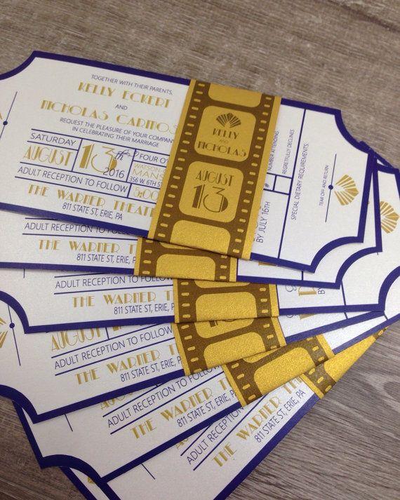 Art Deco Movie Ticket Invitation / Wedding Invitation / Belly Band  Invitation/ Shower Invitation /