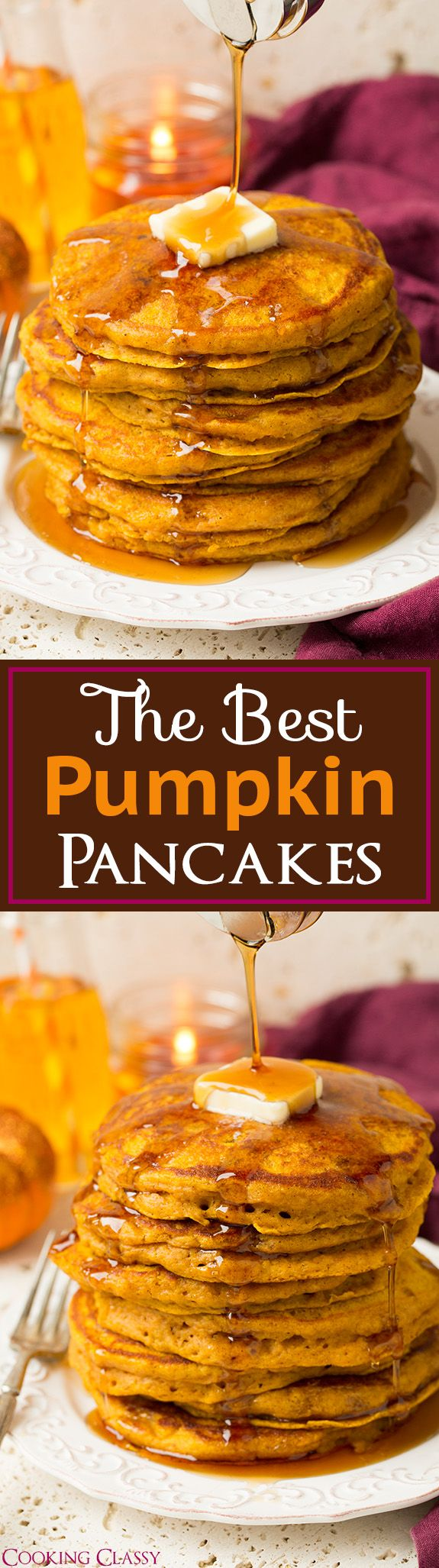 Pumpkin Pancakes - these are TO DIE FOR! My mom said they were the best pancakes she's ever eaten! Best fall pancakes ever!