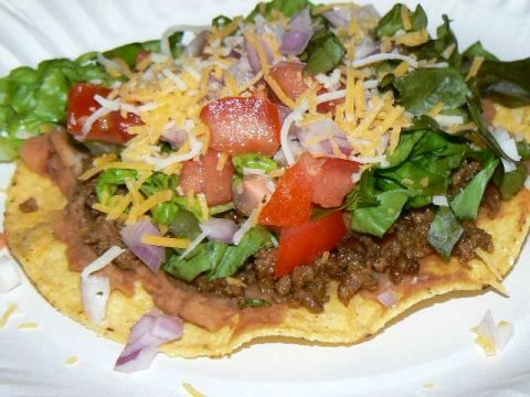 Homemade Beef and Bean Tostada--looking for a midweek or schoolnight ...