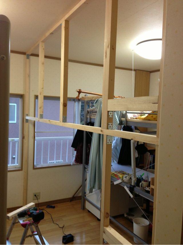 子供部屋を2つに分けます 親父の底力w リフォーム 子供部屋