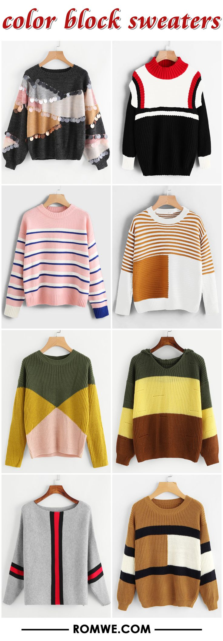 color block sweaters from romwe.com