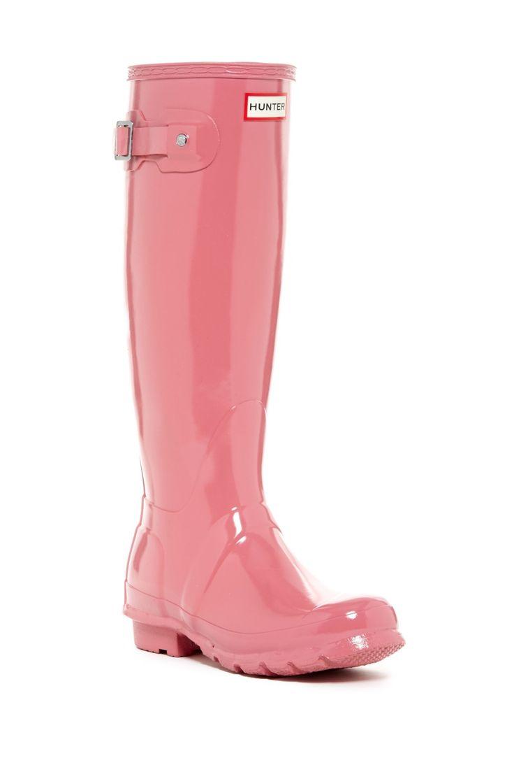 Pretty in pink!  Hunter Original High Gloss Waterproof Boots