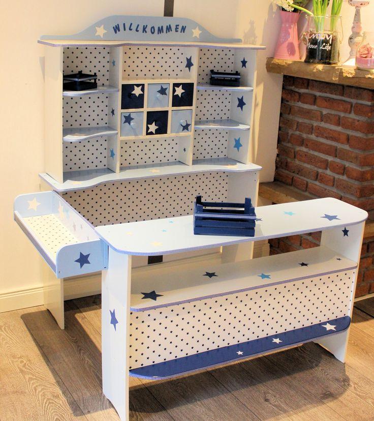 kaufladen blau wei shabby kaufladen und kinderk che. Black Bedroom Furniture Sets. Home Design Ideas