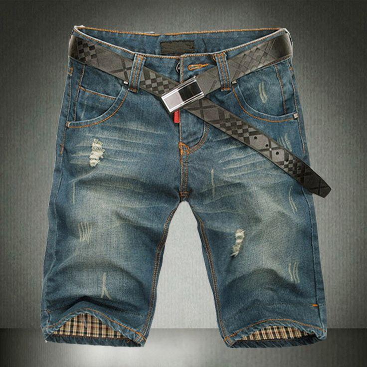 Hot plus size 40 2017 Men's Jeans Shorts,Mens Short Jeans,Fashion Famous Brand Denim Shorts Men, cotton Straight jeans