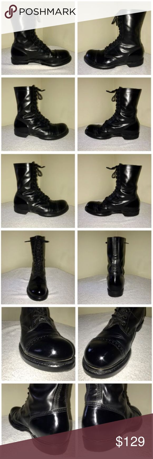 "Corcoran Black 10"" Cap Toe Jump Boot 13 E These boots were purchased, shined and only used in one military ceremony. They are in amazing condition and comes from a smoke free environment. There are no tears or rips.   Heel Height- 1 Inch Total Height- 11 Inches Width- 4.75 Inches Length- 13 Inches  Military Approved  Performance ""Split Shineable"" Leather  Unlined  Internal Ankle Support  PORON® Cushioned Insole  Steel Shank for Support  Garrison Army Munson Last for Superior Fit  Heavy Duty…"