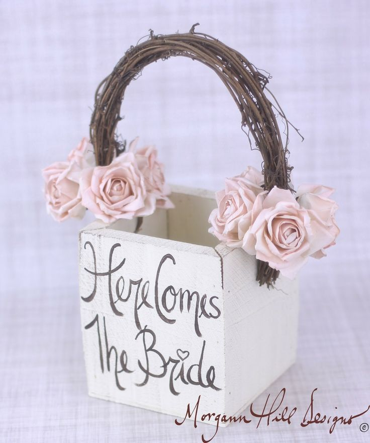 Rustic Country Flower Girl Dresses | Designs: Rustic Flower Girl Basket Here Comes The Bride Sign Country ...