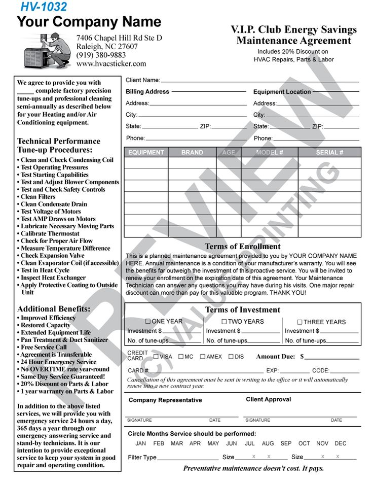 51 best HVAC Forms images on Pinterest Change to, Flat rate and - maintenance agreement