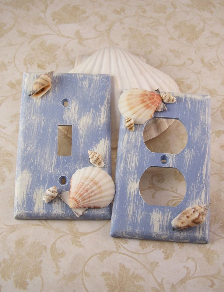 Light switchplate covers blue home decor distressed sea for Seashell bathroom accessories
