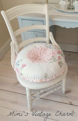 Mimi's Vintage Charm...: a little sewing table, a chair and some thrifted tableware...