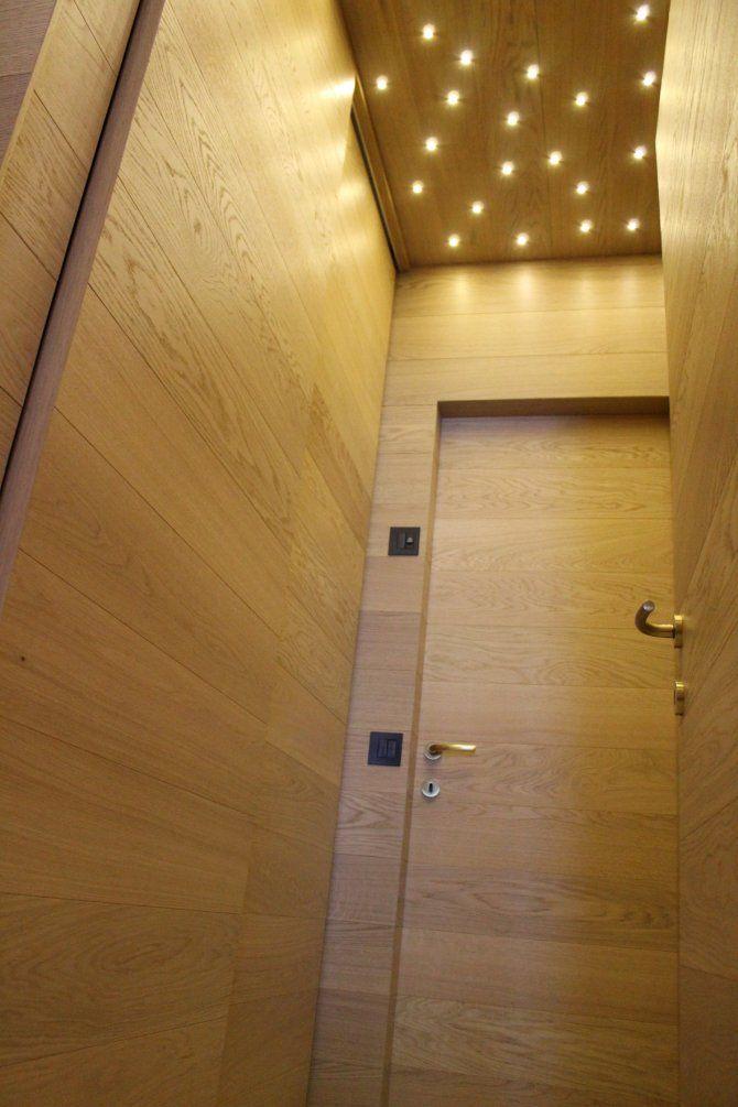 Appartamento di Foppolo - particolare luci e lavorazione legno - progetto di interior design