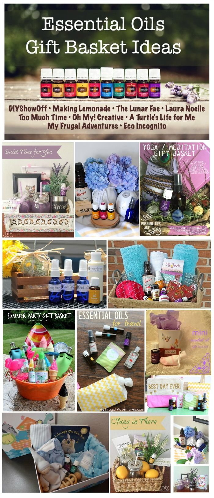 Essential Oils Gift Basket Blog Hop! Beautiful and frugal ideas for oily gifts, perfectly packaged.