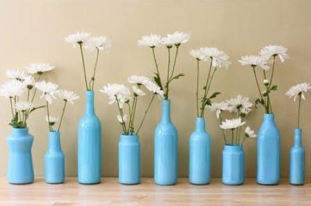 vases: Bottle Vases, Wedding Ideas, Painted Bottles, Wine Bottle, Diy, Craft Ideas, Flower, Crafts