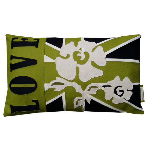 SAMPLE SALE ITEM. Green, Black And White Retangular Love And Rambling Roses  Union Jack