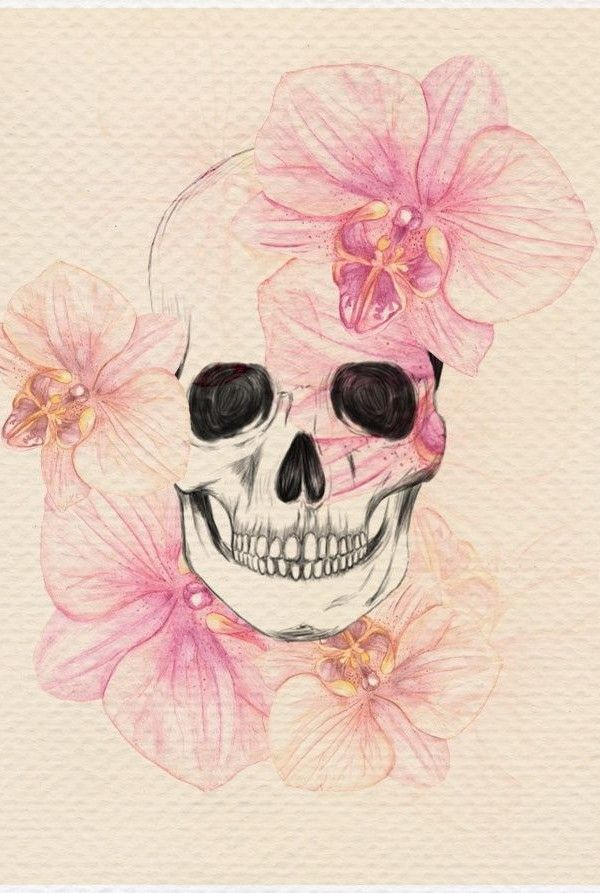 Orchid Skull Tattoo, love this for a shoulder tattoo only i would prolly make the orchids a darker color