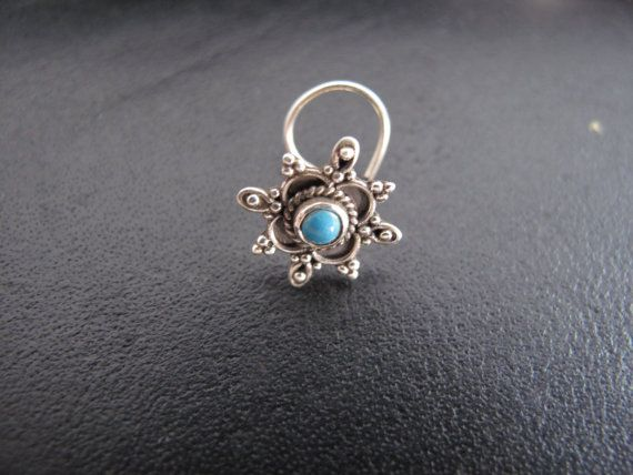 Turquoise Nose Ring,Nose Ring,Silver Nose Ring,Indian Nose Ring,Gypsy Nose Stud,Body Jewelry;Nose Piercing,Boho Jewelry,Tribal Nose Stud