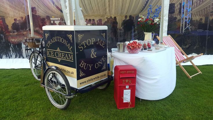 Ice cream tricycle with deckchair and post box set up