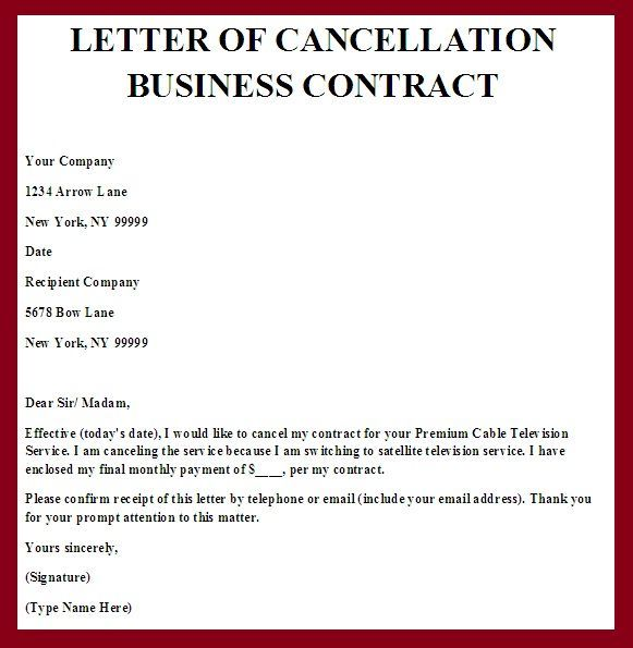 Day Notice Contract Termination Letter Template  Letter