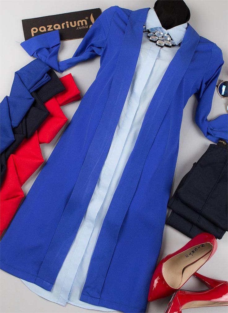 Ceday Yaka Uzun Salaş Bayan Ceket (Saks Mavisi)