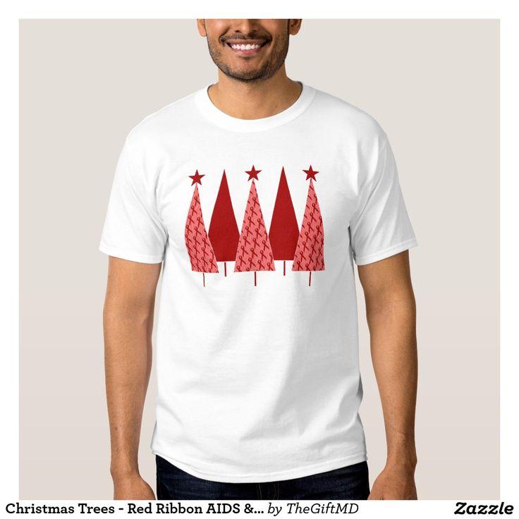 Christmas Trees - Red Ribbon AIDS & HIV T Shirt