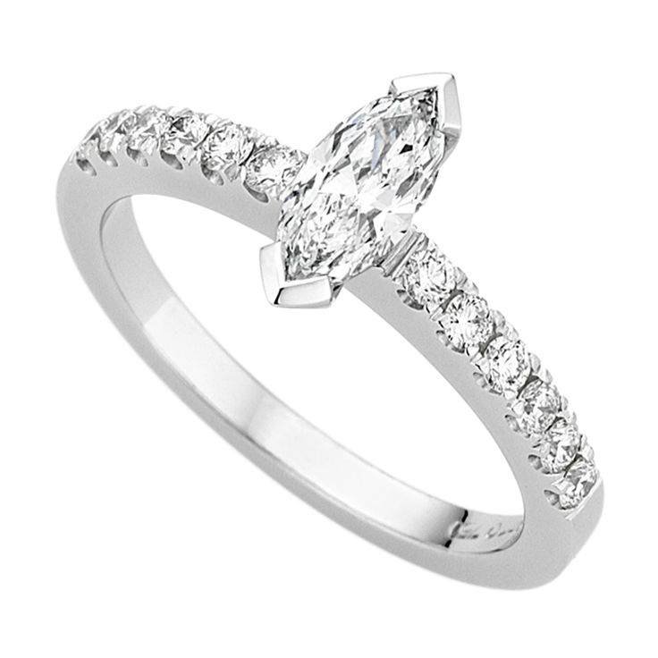White Gold Marquise Diamond with Diamond Shoulders C992