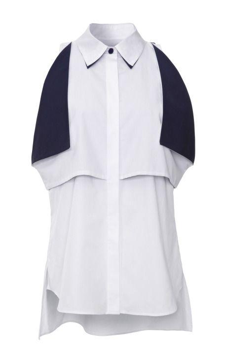 Shop Contrast-Trim Cotton Blouse by Prabal Gurung Now Available on Moda Operandi