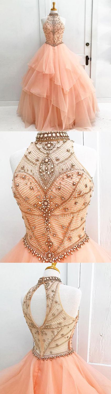 Halter Ball Gown Prom Dress,Long Prom Dresses,Prom Dresses,Evening Dress, Evening Dresses,Prom Gowns, Formal Women Dress,prom dress