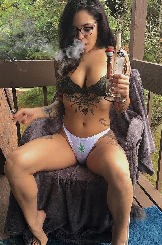 Naked girls smoking