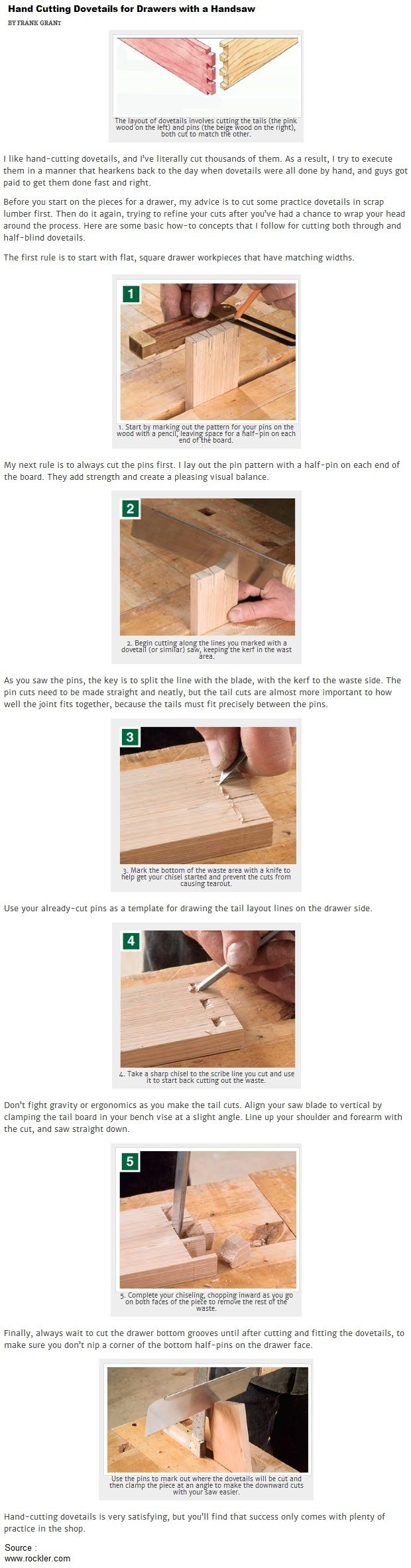 Hand Cutting Dovetails for Drawers with a Handsaw