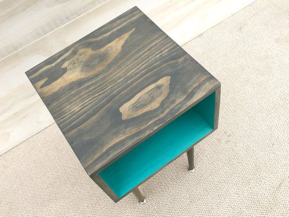 mid century modern side table smoke and turquoise furniture midcentury bed side table end table mcm