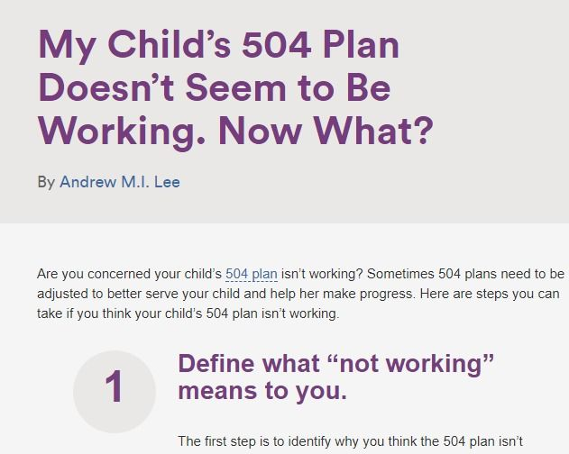 My Child's 504 Plan Isn't Working. Now What?