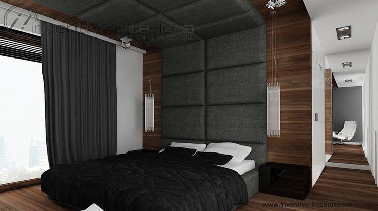 Projekt sypialni Inventive Interiors - luksusowa sypialnia z elementami grafitu, czerni i drewna - drewno i tapicerowanie na ścianie i suficie