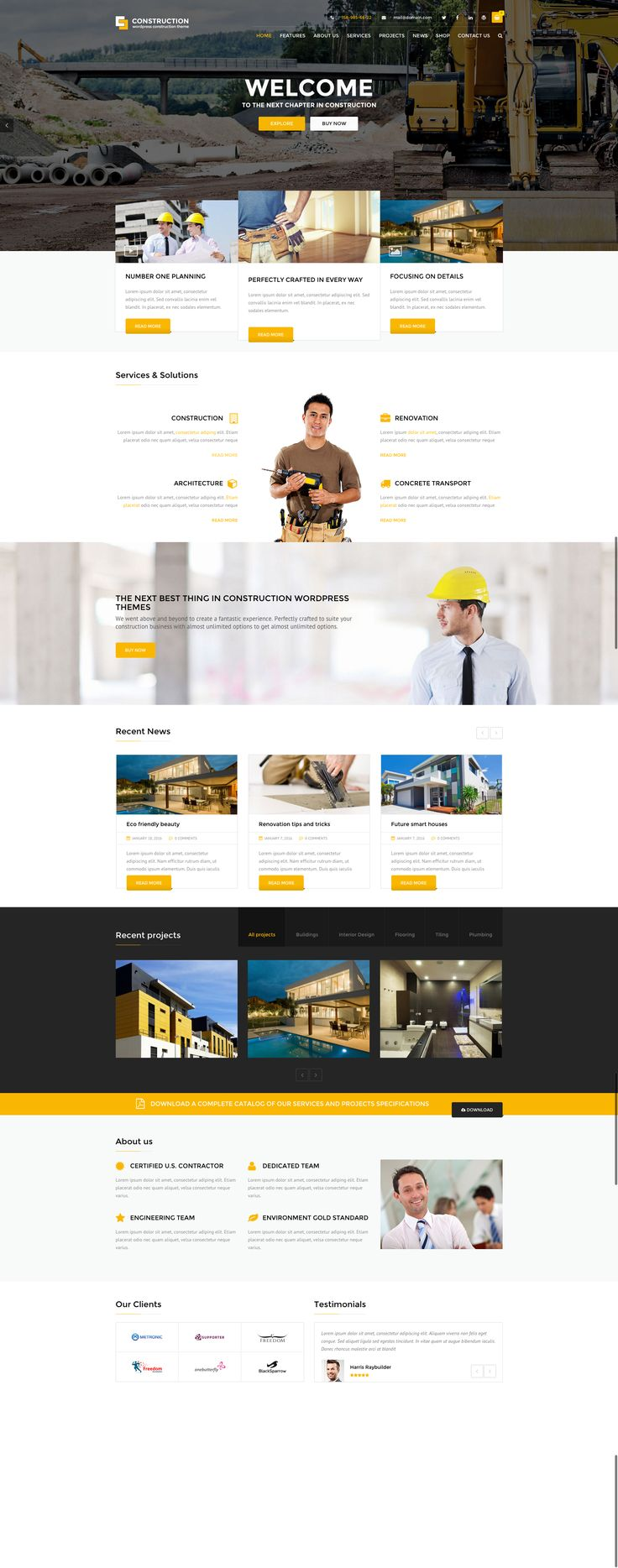 Construction WordPress business theme focused on building websites in the construction company niches.