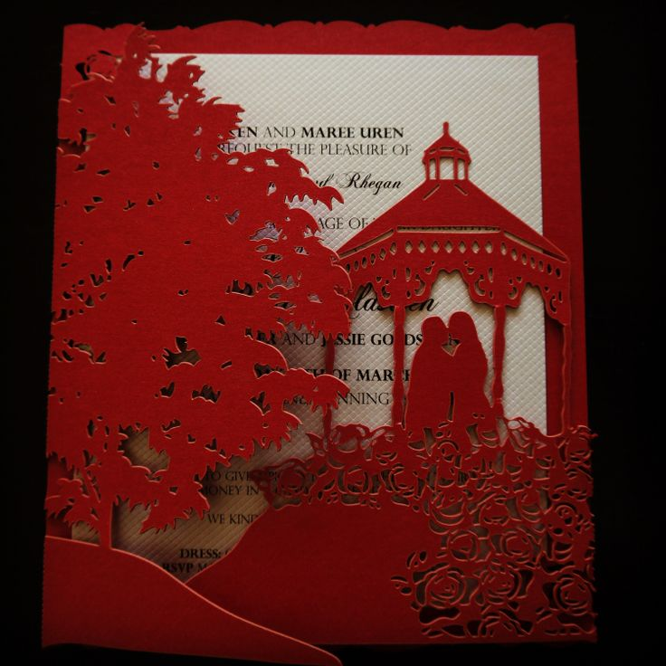 Sydney laser cut wedding invitation design sydney, stunning vibrant red invitation with personalised silhouette of bride and groom!